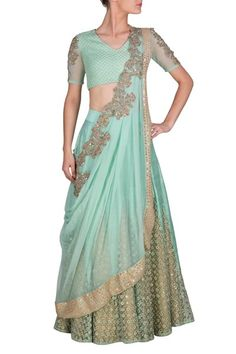 Aqua blue raw silk panel embroidered lehenga with quilted blouse and pre draped dupatta #Aqua #blue #lehenga #RidhimaBhasin #CarmaOnlineShop #WorldWIdeShipping #COD #ShopNow #FreeShipping