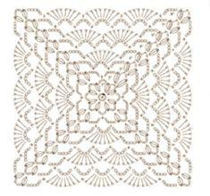 copertina quadrata a uncinetto con ventagli Crochet Mandala Pattern, Crochet Square Patterns, Crochet Blocks, Crochet Diagram, Filet Crochet, Crochet Stitches, Crochet Cushions, Crochet Tablecloth, Crochet Doilies