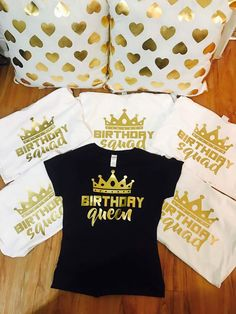 T Shirt Tshirt Women Cute Groot Birthday Squad Queen Gold Cotton Crewneck Party Shirts Gift Club Clothing Girl Top Funny