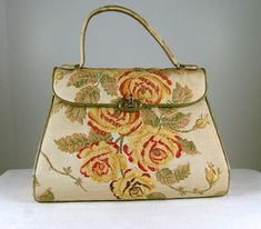 NETTIE ROSENSTEIN Tapestry and Olive Green Leather Handbag by katscache. Explore more products on http://katscache.etsy.com