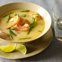 This savory, Thai coconut shrimp soup tastes just like that brothy dish from your favorite Thai restaurant. Try swapping chicken for the shrimp too!