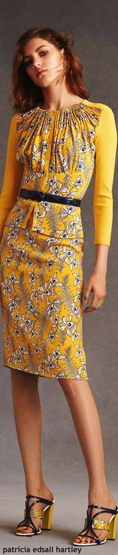 Oscar de la Renta Resort - 2016 yellow women fashion outfit clothing style apparel @roressclothes closet ideas