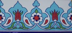 "Turkish Light Blue 10 4""x8"" 10cmx20cm Iznik Ceramic Red Tulip Tile Border | eBay"