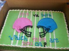 Gender reveal football baby shower cake