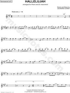 Hallelujah - Eb Instrument sheet music composed by Leonard Cohen