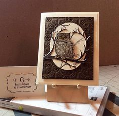 Still Night, Night Owl thinlits, Tin Tile EF; Christmas Cards To Make, Holiday Cards, Owl Card, Hand Stamped Cards, Stampin Up Catalog, Stamping Up Cards, Bird Cards, Thanksgiving Cards, Animal Cards