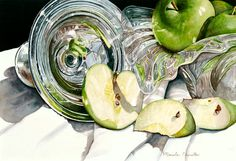 Fine Art Marketplace : Green Apple Kaleidoscope by Marsha Chandler - Artists Medium Style / Subject Watercolor Paintings, Watercolors, Food Painting, Country Scenes, Contemporary Artists, Still Life, Carry On, My Arts, Fine Art