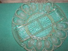 L E Smith Clear Glass Heritage Line Deviled Egg Plate Platter Server Tray Dish | eBay