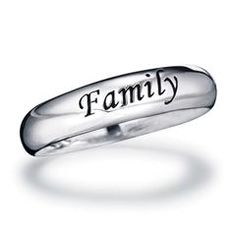 """Sterling Silver Sentimental Band Ring """"Family"""""""