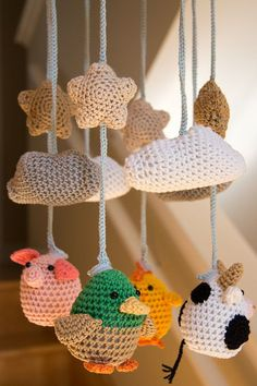Cute Crocheted Farm Animals Baby Mobile by minibytes on Etsy ...