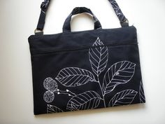 17 inch Laptop Bag All-in-One Black Leaf Handmade by Babimini