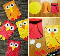 No photo description available. Autumn Crafts, Fall Crafts For Kids, Thanksgiving Crafts, Toddler Crafts, Art For Kids, Kids Crafts, Owl Crafts, Animal Crafts, Cute Crafts