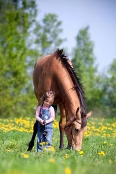 Photographic Print: Child and Bay Horse in Field by Alexia Khruscheva : 24x16in