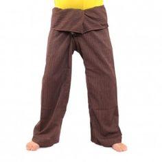 Envuelva pantalones Cottonmix extra larga - marrón