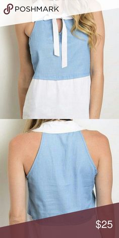 🌷HP🌷 Tie Neck Denim Top Description: Sleeveless Collared Tie Neck Denim Top. | Made in: USA |  Fabric: 100% Polyester Tops