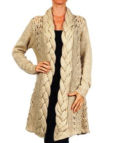 Look at this #zulilyfind! Karen T. Design Beige Braided Knit Open Cardigan - Women by Karen T. Design #zulilyfinds