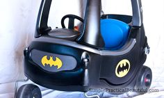 Little Tikes play car into a toddler Batmobile ....Barbie car into a Batmobile too.