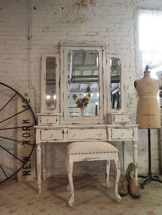 Painted Cottage Chic Shabby Romantic Vanity and by paintedcottages