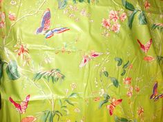 Vintage Cyrus Clark CORTILE Shabby Chic Fabric, Light Green With Multicolored Butterflies On The Fabric. Great high quality fabric. 5 1/4 yds, 56 wide. Great upholstery fabric.