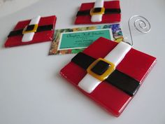 Fused Glass Ornament  Santa's Suit by Clayton Hill Studio on Etsy