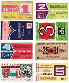 Vintage Bus Passes -- Add to a SMASH or Daybook. Especially great for pages about Travel or Transportation.