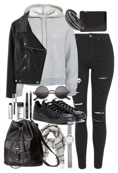 """Outfit for university with a leather backpack"" by ferned ❤ liked on Polyvore featuring Topshop, T By Alexander Wang, Comme des Garçons, Acne Studios, adidas, VILA, H&M, Bobbi Brown Cosmetics, Witchery and women's clothing"