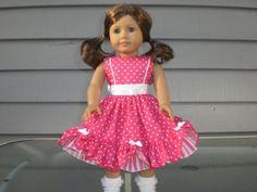 Hot Pink Polka Dot 18 inch Doll Dress by janinenetzel on Etsy, $22.00