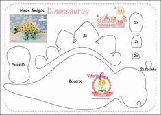 Molde de Dinossauros baby em Feltro  - Ver e Fazer Felt Crafts Diy, Felt Diy, Cool Diy Projects, Sewing Projects, Sewing Crafts, Baby Dino, Sewing Stuffed Animals, Dinosaur Pattern, Dinosaur Birthday Party
