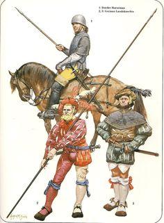 Angus McBride - Mercenarios al servicio de Enrique VIII de Inglaterra - Siglo XVI