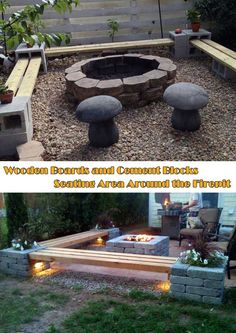30 great DIY ideas to build a nice fireplace from a few paving stones - Garten Feuerstelle - Awesome Garden Ideas Fire Pit Seating, Backyard Seating, Fire Pit Backyard, Backyard Landscaping, Backyard Ideas, Firepit Ideas, Patio Dining, Backyard Patio, Diy Pergola