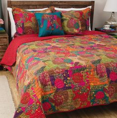 3pc Set Includes: Quilt   2 Shams (see below for sizing). Retro-modern styling reverses to a coordinating solid color with contrasting quilting. Jewel Quilt Set -. FULL/QUEEN size, matching THROW, PILLOWS & SHOWER CURTAIN available. | eBay!