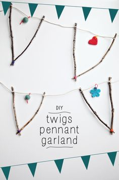 DIY Natural Twig Pennant Garland - Fall Garland Craft - Fall Garland with sticks | Small for Big