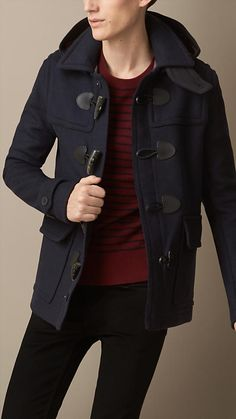 Love it! | Burberry Brit Wool Detachable Hood Duffle Jacket Perfect For This Upcoming Fall
