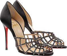 063ef2101b8c Christian Louboutin spider web heels. You are welcome. Satin Shoes