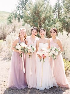A beautiful bride and her 'maids | Photography: Marina Koslow Photography - marinakoslowphotography.com  Read More: http://www.stylemepretty.com/2015/02/27/romantic-ranch-wedding/