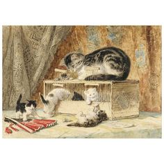 Ronner-Knip, Henriëtte A cat and her kittens playing with a mouse trap