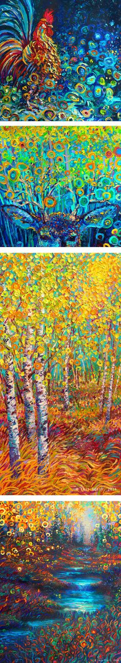 Paintings by Iris Scott. In order top to bottom: 1. Kikiriki 2. Buckeye 3. Candyland 4. Glen's Glen  Finger painted oils. Originals and prints available at www.IrisScottFineArt.com  #impressionism #art #vangogh #artist