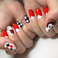 Queen of hearts nail art.  by thenailbarsydney http://ift.tt/1NRMbNv