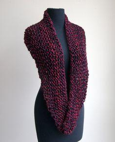 Hand Knit Crescent Shoulder Shawl Scarf Cowl Wrap by PeacefulPath