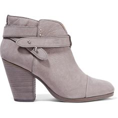 rag & bone - Harrow Nubuck Ankle Boots ($238) ❤ liked on Polyvore featuring shoes, boots, ankle booties, grey, grey boots, high heel boots, gray booties, studded booties and high heel ankle boots