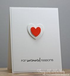 handmade Valentine/love card by tracey ... clean and simple ... mostly white space ... two hearts ... little red one popped up on larger white one ... great example of clean graphic styling ...