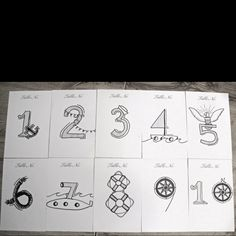 Table numbers drawn for our nautical/ Navy themed wedding by my cousin Natasha Szymkiewicz!