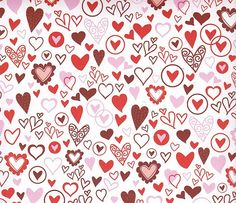 12x12 Paper  RED and PINK HEARTS  6 Sheets by countrycroppers, $2.99