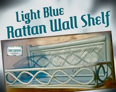Light Blue Mid Century Rattan Wall Shelf   by stuartchristopher, $25.00