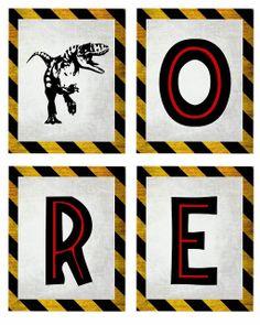 Free dinosaur (Jurrasic Park) party printables - Carnivore garland