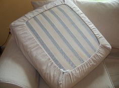 Easy Diy Drawstring Seat Cushion Cover Slipcovers Cushions On Upholstery For The Lazy Girl Couch Cushion Covers Diy Cushion How To Make A Cushion Cover And Other Slipcover Tutorials Mossyjojo Diy No Sew Temp Sofa…