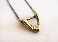 Bronze petite triangle necklace by Leah Ball. #jencausey