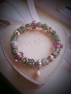 >>>Pandora Jewelry OFF! Pandora Bracelet Charms, Pandora Jewelry, Charm Bracelets, Pandoras Box, Bracelet Designs, Pink Purple, Creations, Jewels, Beads
