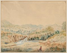 Murrumbidgee River, New South Wales c. 1829 drawn by Robert Hoddle General Post Office, Melbourne, Sydney, Queenslander, Stage Design, Historical Pictures, Family History, The Past, Places To Visit