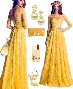 Daffodil long prom dresses, A-line Full Sleeve Floor-length Lace Prom Dresses Evening Dresses
